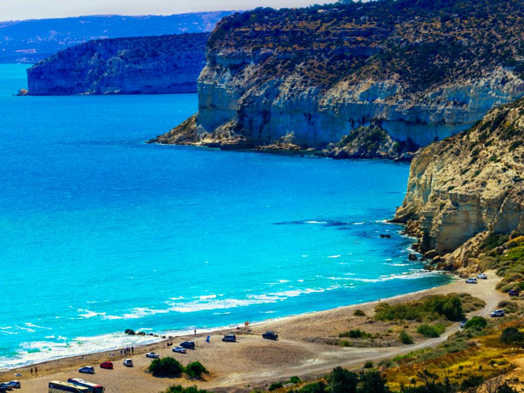 Pláž Kourion na ostrově Kypr